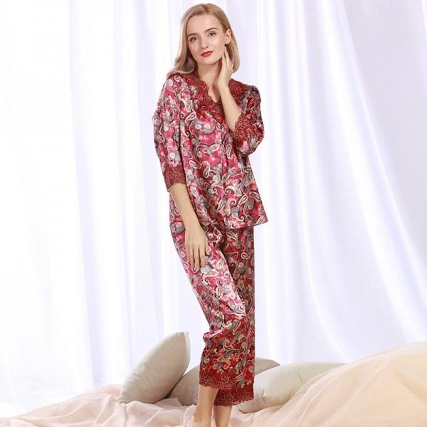 Women Pajama Sets 2 Piece Summer Silk Pajamas