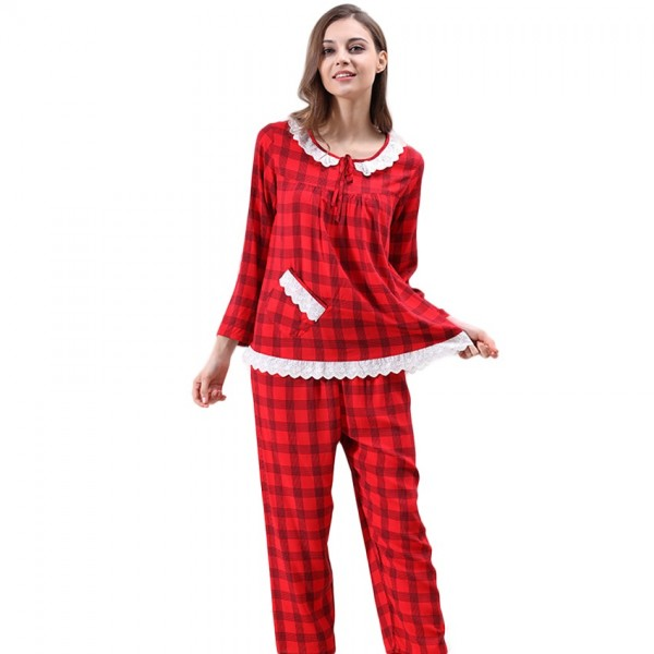 Long Cotton Ladies Comfort Lace Long Sleeve Pajamas Set