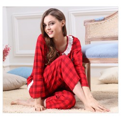 Long Cotton Ladies Comfort Lace Long Sleeve Pajamas Set