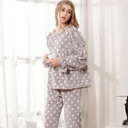 Fashion Women Pajama Set Ladies Flannel Coral Velvet Pajamas
