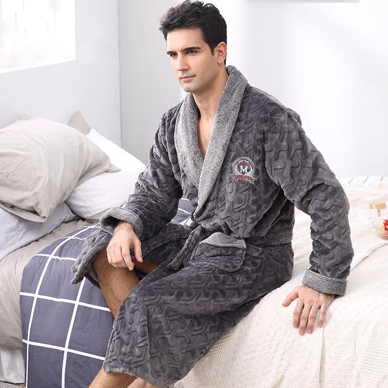 Flannel sleepwear mens long sleeve soft pajamas warm bathrobe winter flannel sleepwear mens long sleeve soft pajamas warm bathrobe sciox Image collections