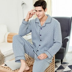 Mens Comfort Cotton Plaid Pajama Set Winter Warm Sleepwear