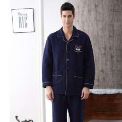 Cotton Men Pajamas Set Long Sleeve Sleepwear Casual Nightwear
