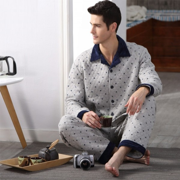 Cotton Men Pajama Set Casual Polka Dot Warm Sleepwear