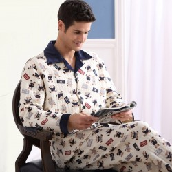 Men Cotton Pajamas Set Button Collar Warm Printed Sleepwear
