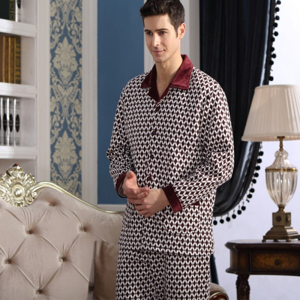 Mens Pajama Sets Fashion Cotton Long Sleeve Casual Plaid Pajamas