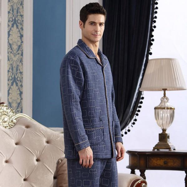 Men Pajama Set Cotton Warm Soft Pajamas