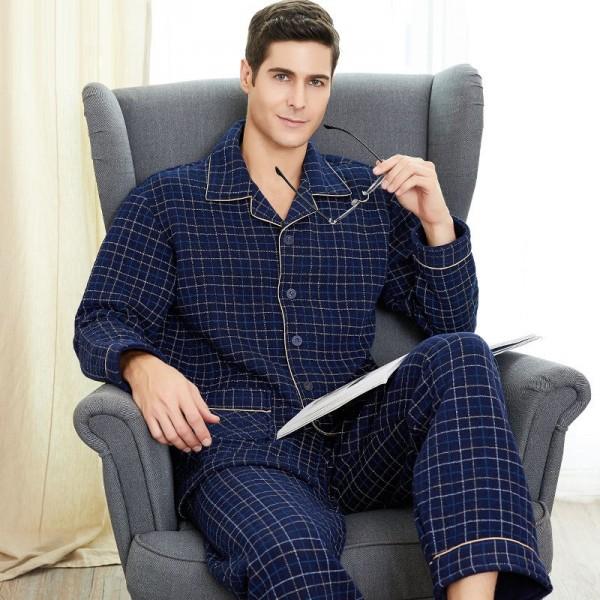 Men Classic Long Sleeve Plaid Warm Cotton Pajama Set