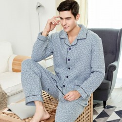 Men Classic Long Sleeve Plaid Warm Cotton Pajama Set