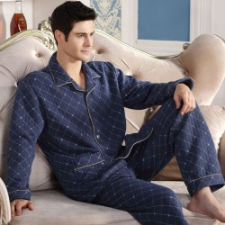 Fashion Men Pajamas Set Cotton Long Sleeve Warm Pajamas