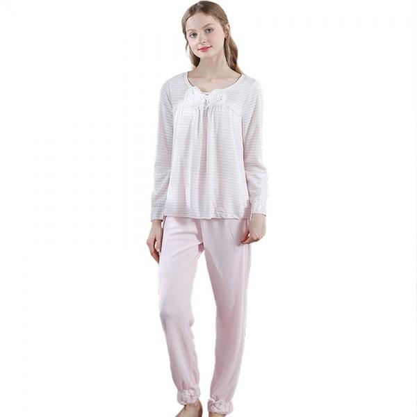 Cute Women Princess Bowknot Pajamas Set Pink Pajamas
