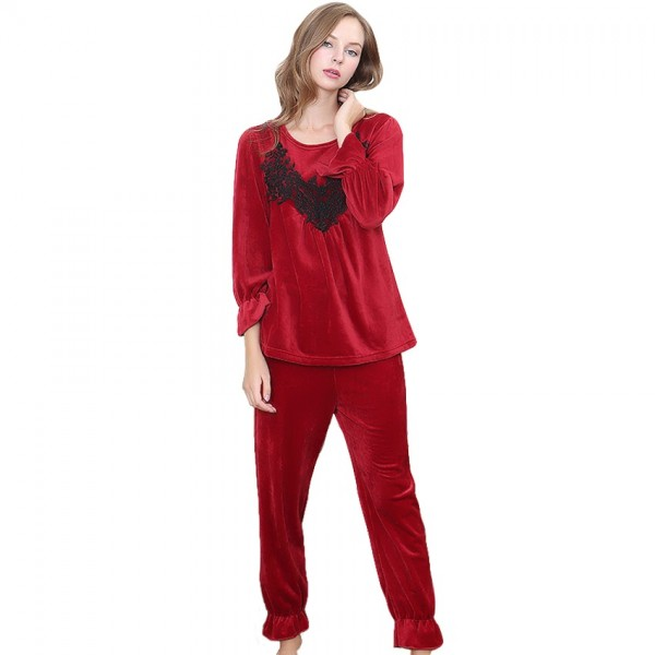 Winter Fashion Princess Pajama Set Ladies Velvet Pajamas