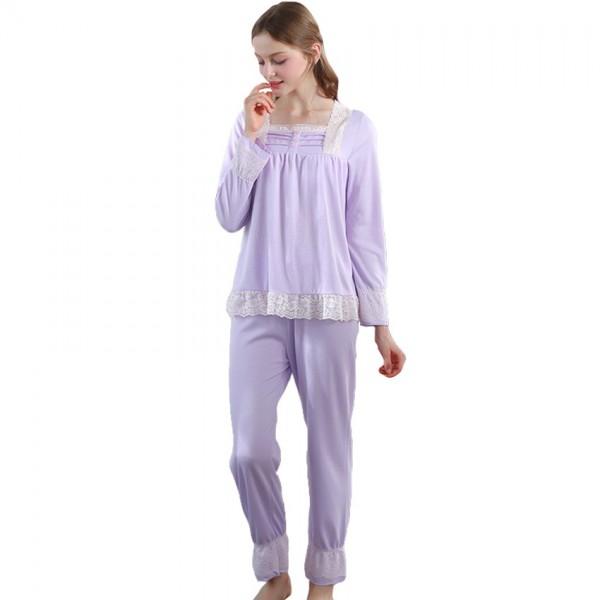 Lace Women Vintage Princess Pajamas Long Sleeve Sleepwear Set