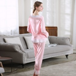 Lace Women Vintage Princess Pajamas Long Sleeve Sleepwear Set