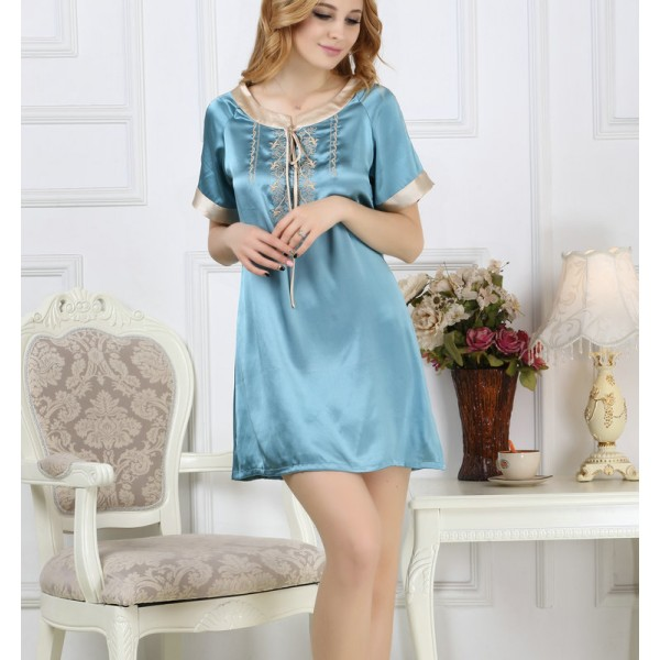 2017 Short Sleeves Blue Silk Pajamas for Women