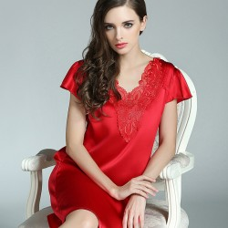 Short Sleeves Red Silk Pajamas for Women