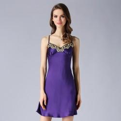 Purple Sexy Sling Silk Pajamas for Women