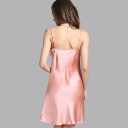 2017 Sexy Sling Pink Silk Pajamas for Women