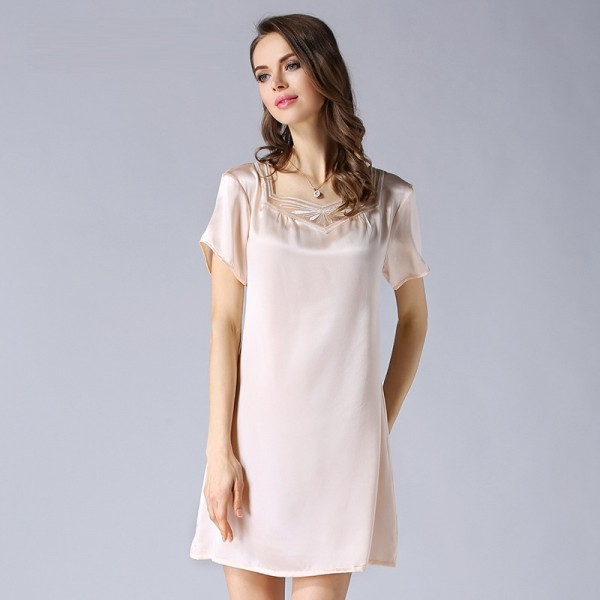 Summer Short Sleeves Sexy Silk Pajamas for Women