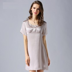 2017 Pink Short Sleeves Sexy Silk Pajamas for Women
