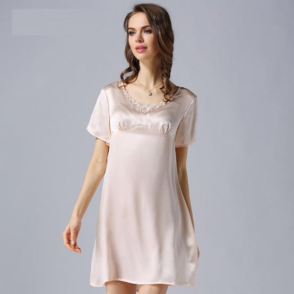 2017 Pink Short Sleeves Sexy Silk Pajamas for Women