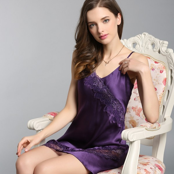 Summer Sling Red Sexy Silk Pajamas for Women