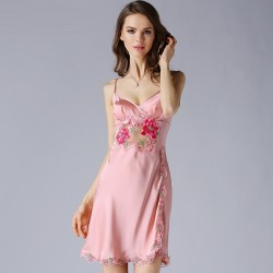 Sexy Sling Summer Pink Silk Pajamas for Women