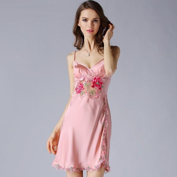Sexy Sling Summer Pink Silk Pajamas for Women