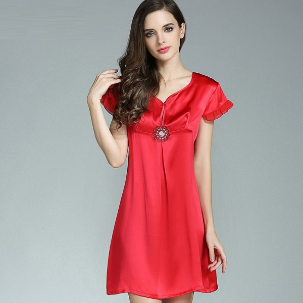 Short Sleeves Sexy Red Silk Pajamas for Women