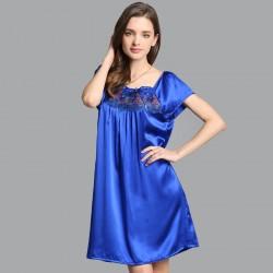 Sexy Blue Silk Pajamas for Women