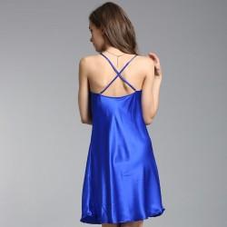 Sexy Red & Blue Silk Pajamas for Women