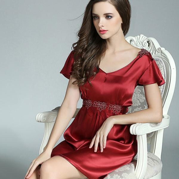 Short Sleeves Summer Pink Silk Pajamas for Women