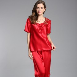 Short Sleeves Sexy Silk Pajamas Set for Women
