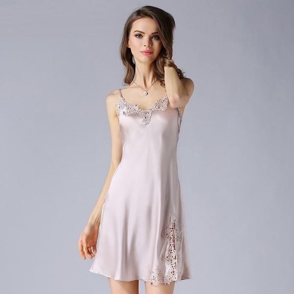 Sexy Sling Pink Silk Pajamas for Women
