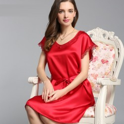 Short Sleeves O-neck Red Silk Pajamas for Women