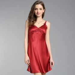 Red Summer Sexy Sling Silk Pajamas for Women