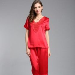 Sexy Short Sleeves Red Silk Pajamas Set for Women