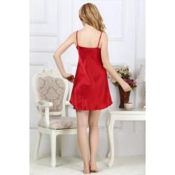 Sexy Red Silk Pajamas Set for Women
