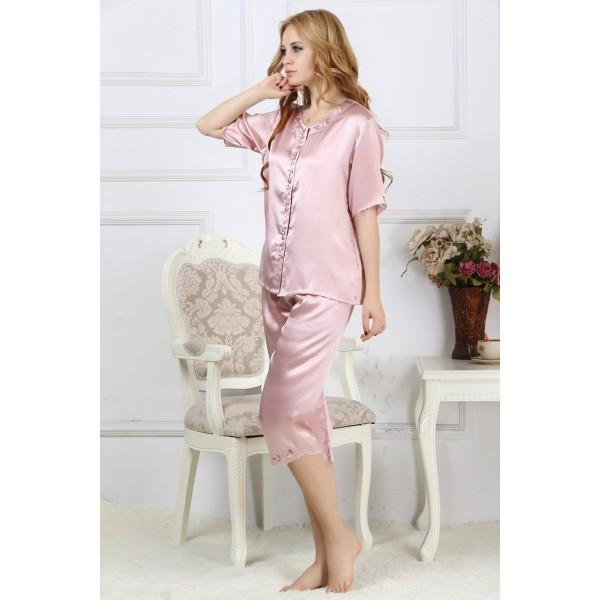Summer Sexy Pink Silk Pajamas Set for Women