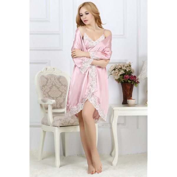 Sexy Pink Casual Silk Pajamas Set for Women