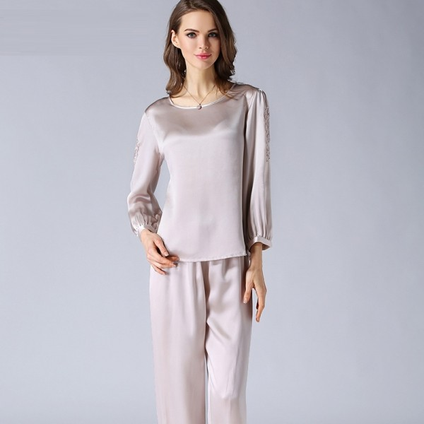 Long Sleeves Pink Silk Pajamas Set for Women