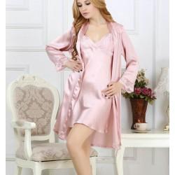 Sexy Sling Pink Silk Onesies Pajamas Set for Women