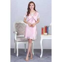 Summer Sling Pink Silk Pajamas Set for Women