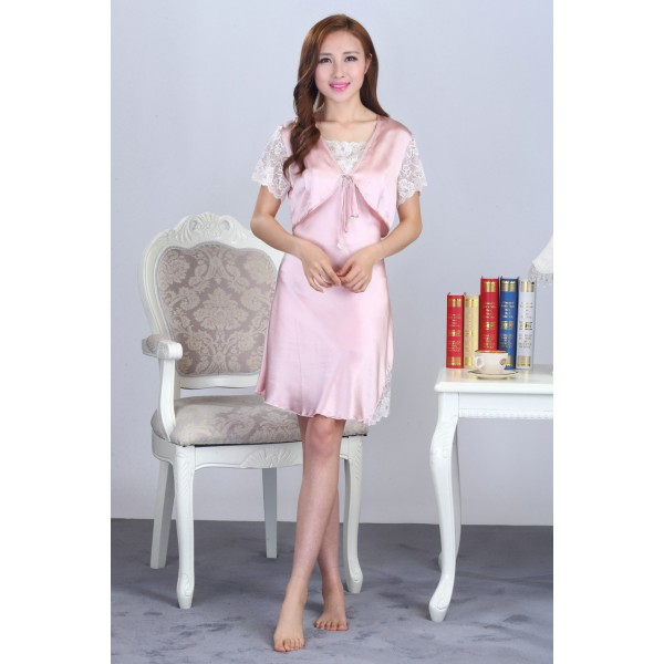 Summer Sling Pink Silk Pajamas Set for Women