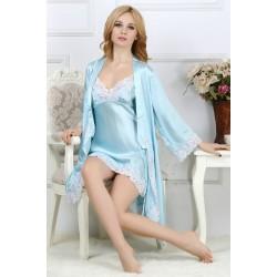 Sexy Sling V-neck Silk Pajamas for Women