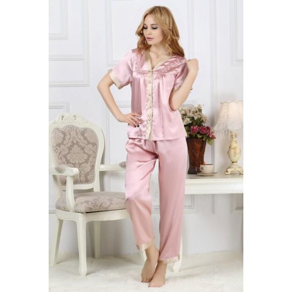 Short Sleeves V-neck Silk Pajamas Set for Women