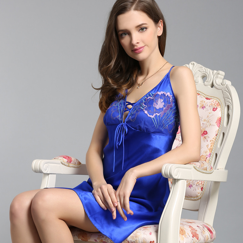 Womens sexy silk sleepwear