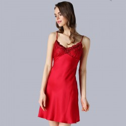 Sexy Sling Red Backless Silk Pajamas for Women