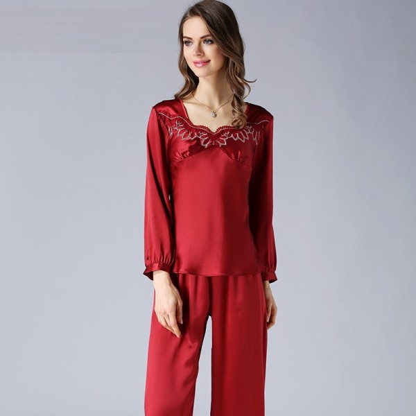 Long Sleeves Summer Red Silk Pajamas Set for Women