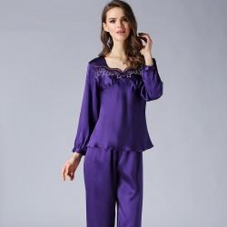 Long Sleeves Summer Red Silk Pajamas Set for Women